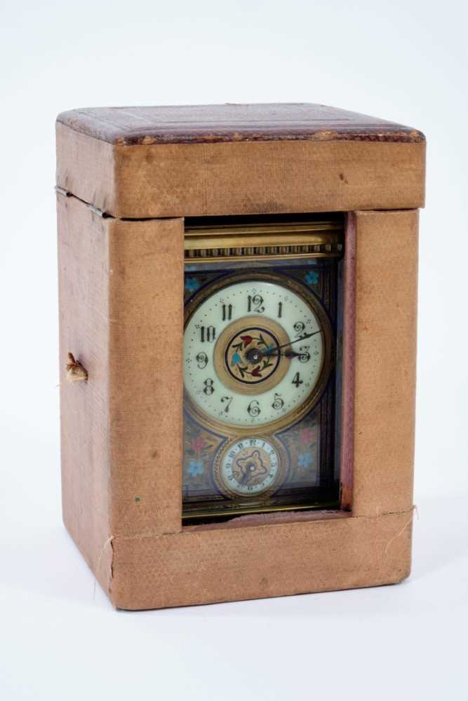 19th century French enamelled carriage clock with subsidiary alarm dial, striking on a bell, in case - Image 5 of 5