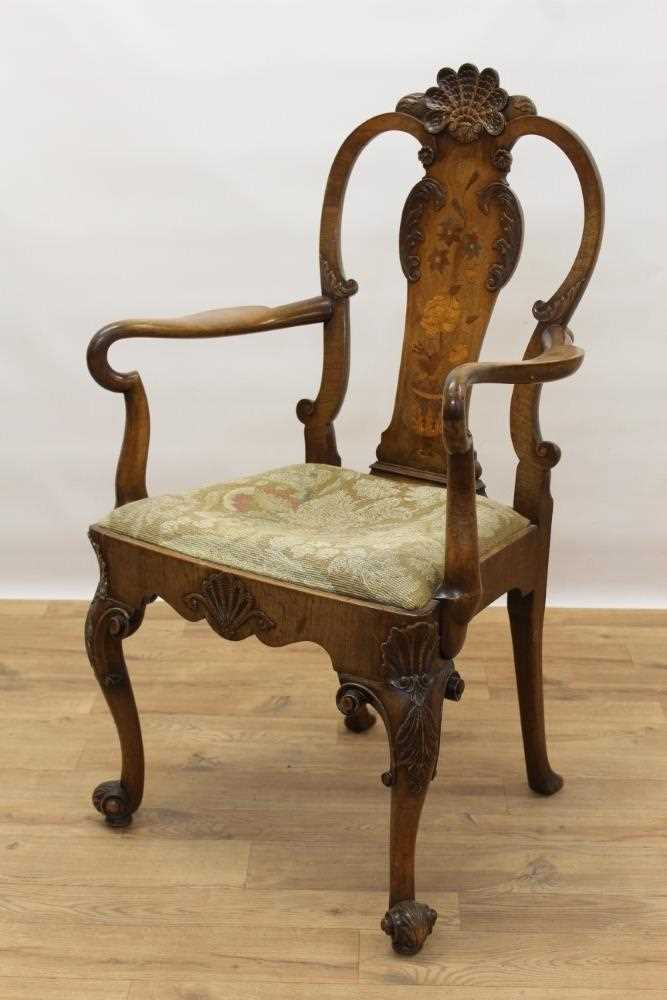 George I style walnut and inlaid crook arm elbow chair - Image 4 of 9