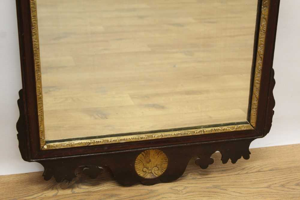 George II style fret carved mahogany wall mirror, rectangular shaped plate in gilt slip and fret fra - Image 3 of 4