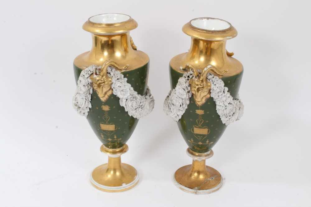 Pair of Paris porcelain vases, 19th century, decorated with swags of encrusted flowers on a green an - Image 4 of 11