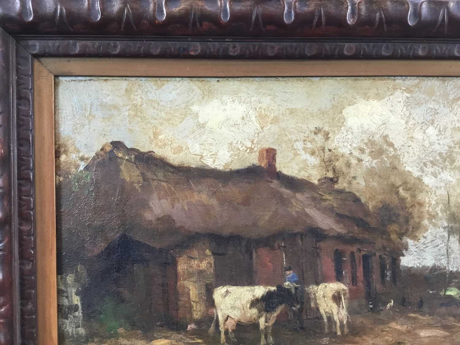 Willem G. F. Jansen (1871-1949) oil on canvas Figure and cattle in landscape - Image 5 of 10