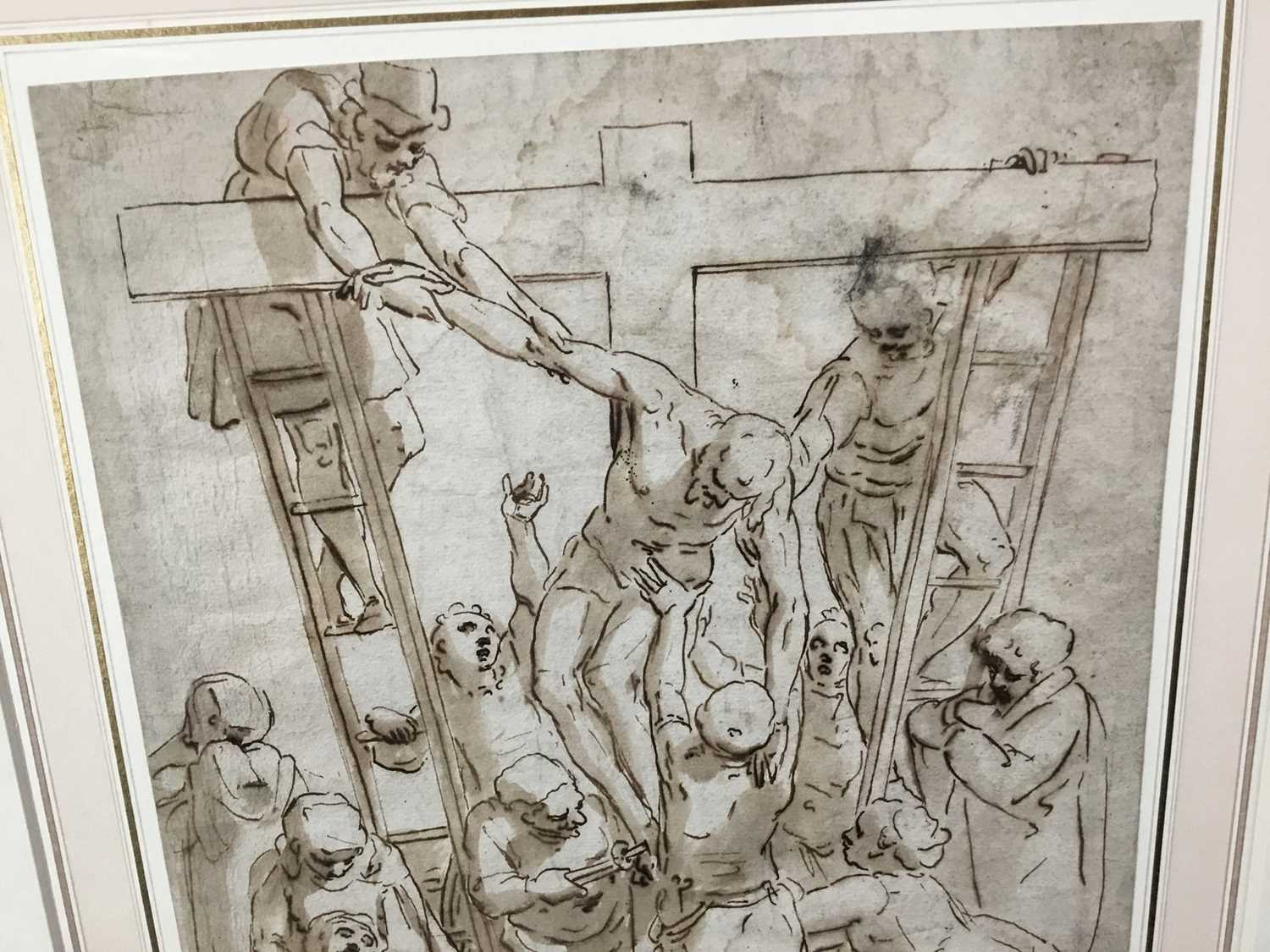 After Luca Cambiaso (1527-1585) 16th century drawing, pen and ink with wash, watermark, 'The Descent - Image 12 of 13