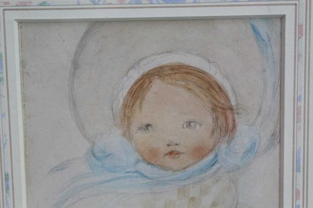 *Mabel Lucie Attwell (1879-1964) pencil and watercolour - The Blue Bonnet, signed, in glazed gilt fr - Image 4 of 6