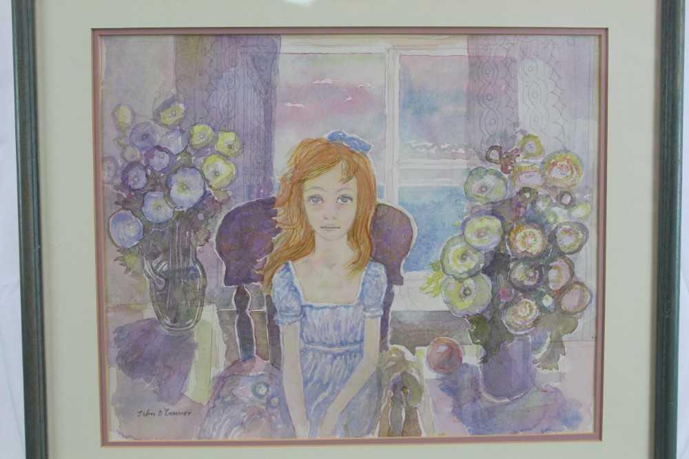 John Scorror O'Conner (1913-2004) watercolour, seated girl, signed.