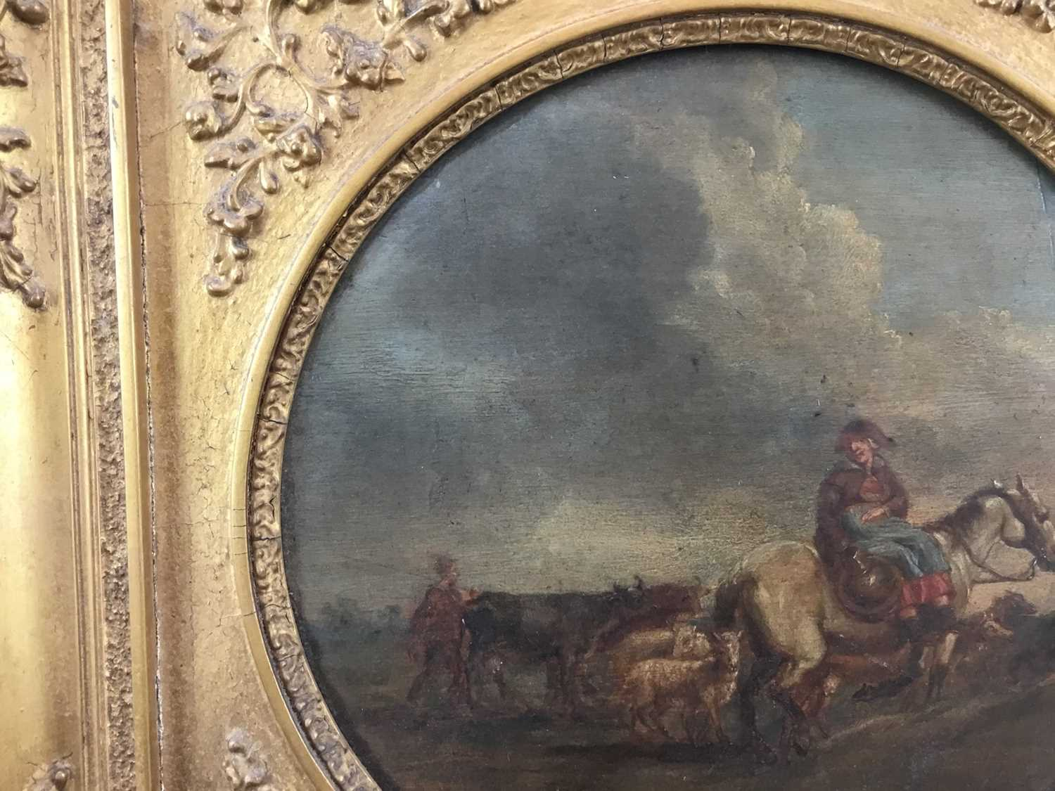 17th/18th century Dutch School oil on panel, tondo - Going to Market, inscribed verso Camphuysen, in - Image 3 of 11