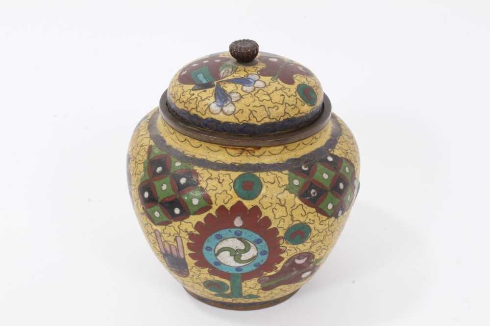 Japanese cloisonné pot and cover, together with another - Image 6 of 10