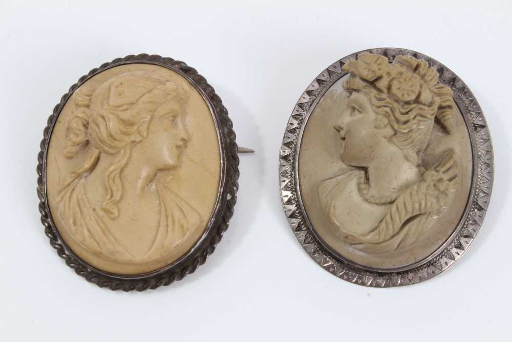 Two late 19th century Italian carved lava cameos depicting classical female busts, one titled to the