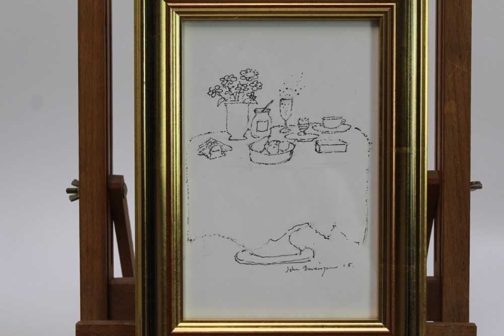 John Burningham (1936-2019) pen and ink sketch - Champagne with Noel Coward, signed and dated '15, i