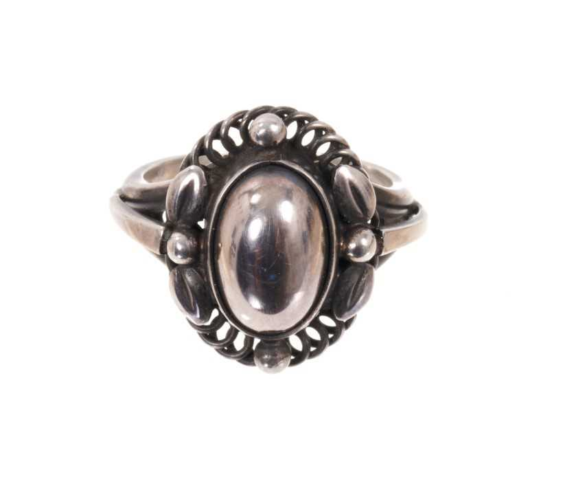 Georg Jensen silver 'moonlight blossom' dress ring with an cabochon silver centre in silver setting