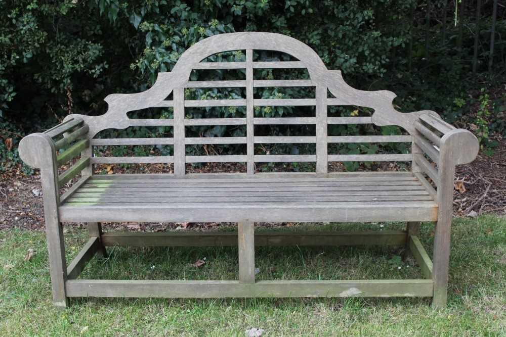 Lutyens style teak garden bench - Image 5 of 5