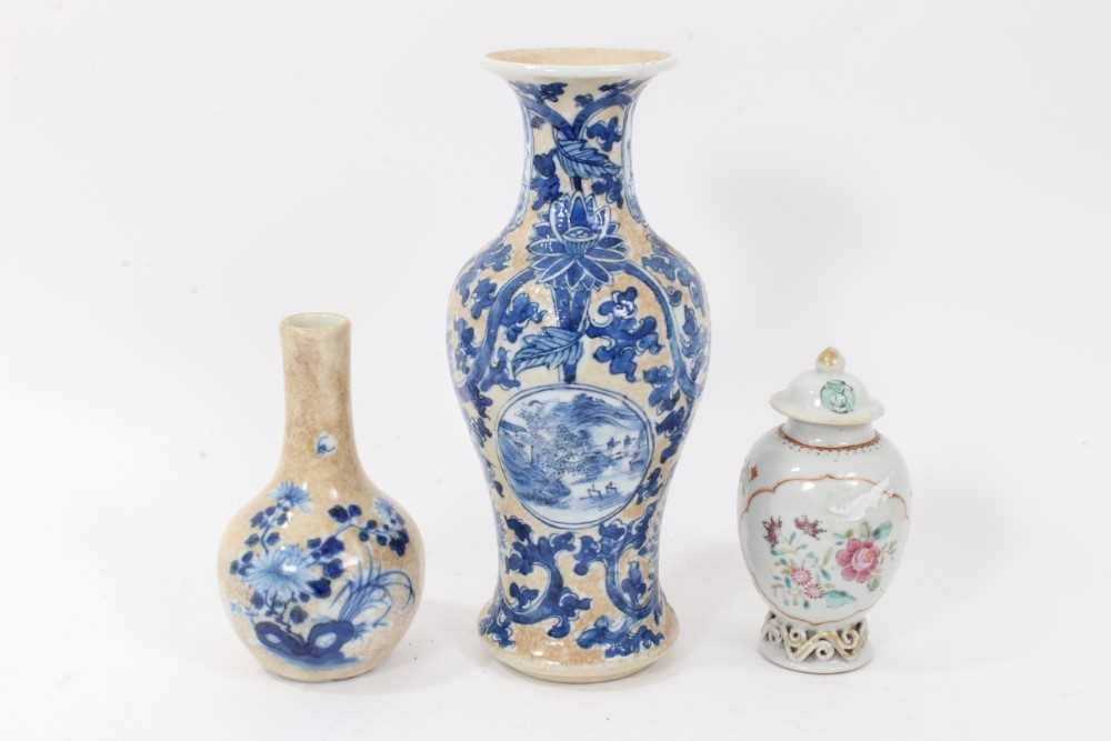 18th century Chinese caddy and cover two 19th century vases