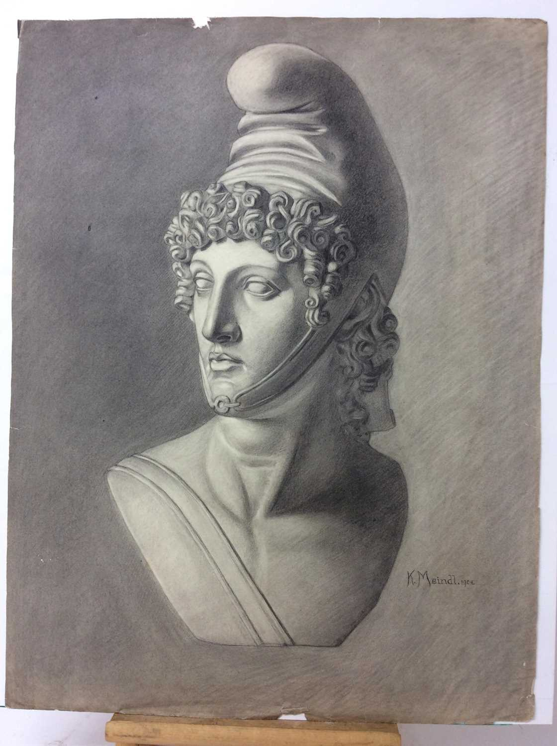 Konrad Meindl (1883-1970) group of eight charcoal works on paper - studies of Classical busts, each - Image 3 of 8