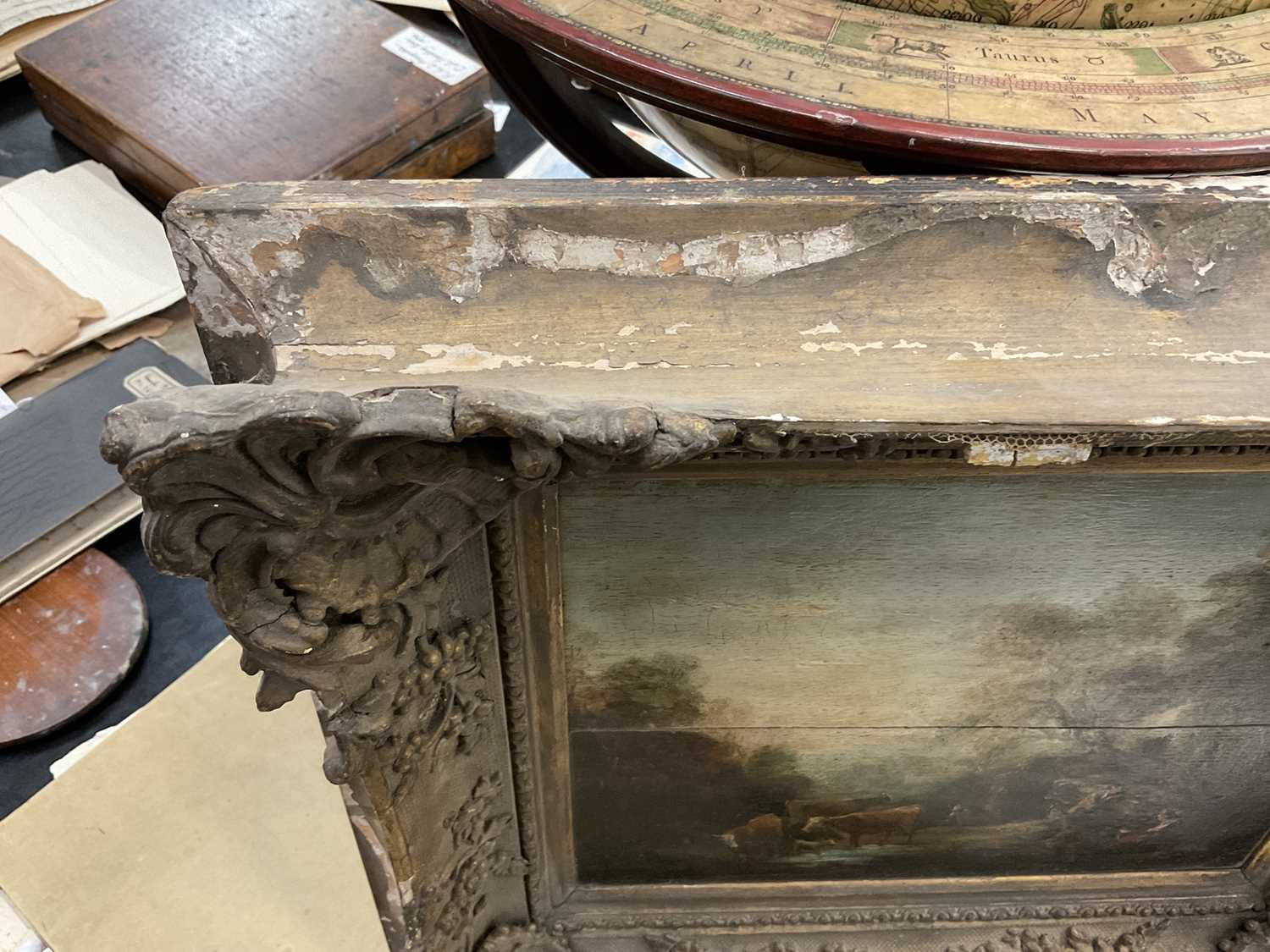Manner of Thomas Gainsborough oil on panel - cattle and herders in landscape, in gilt frame - Image 14 of 15