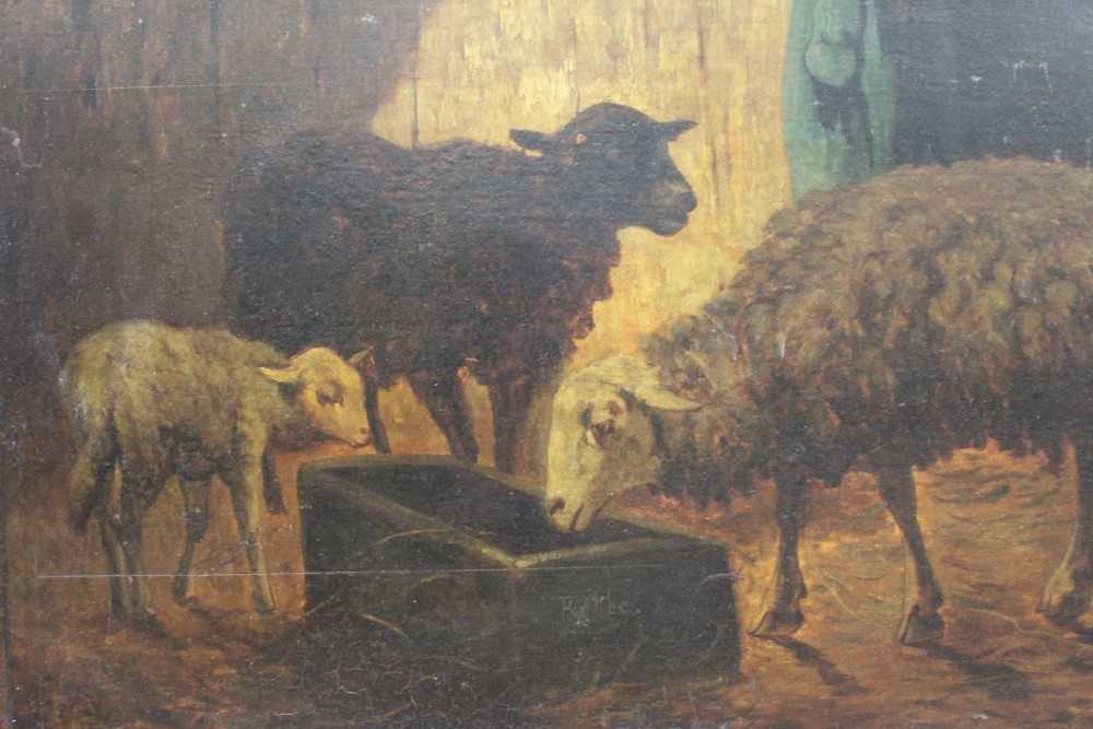 Louis Marie Dominique Robbe (1806-1887) oil on panel - sheep in a barn, signed, 41cm x 56cm, in gilt - Image 4 of 9