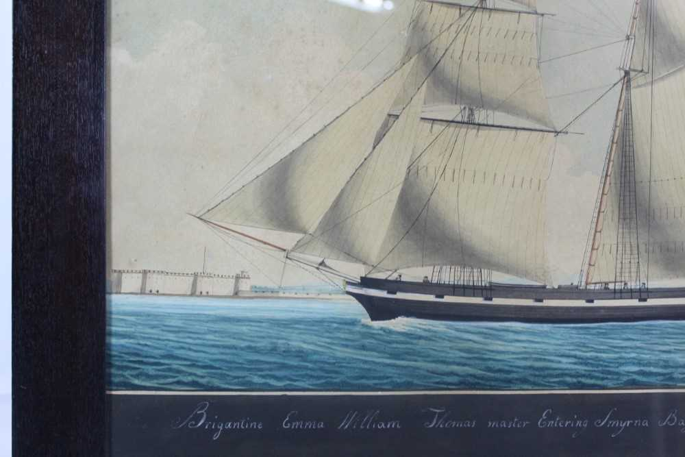 Mid 19th century ink and watercolour - 'Brigantine Emma - William Thomas master, Entering Smyrna Bay - Image 2 of 8