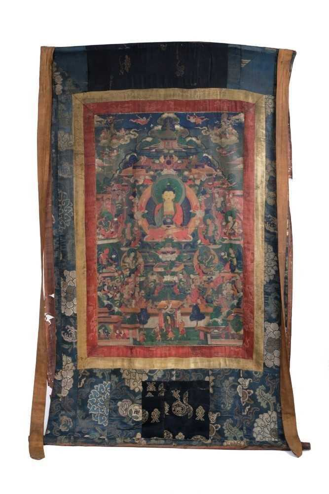 Early Tibetan thangka together with a related framed letter