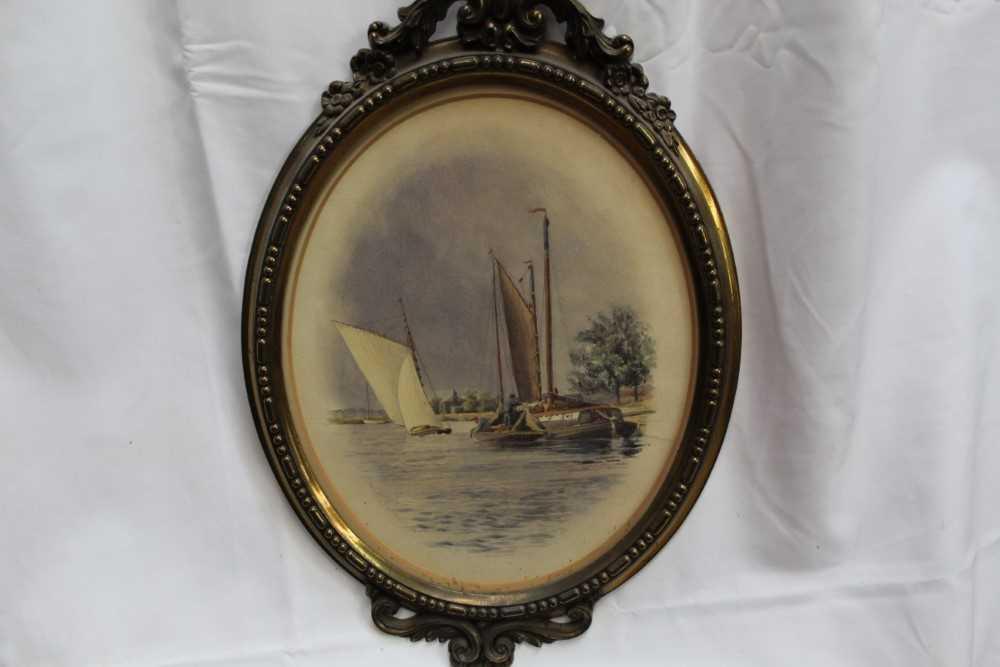Stephen Batcheldar (1849-1932) pair of Broadland watercolours in oval frames - Image 5 of 8