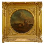 17th/18th century Dutch School oil on panel, tondo - Going to Market, inscribed verso Camphuysen, in