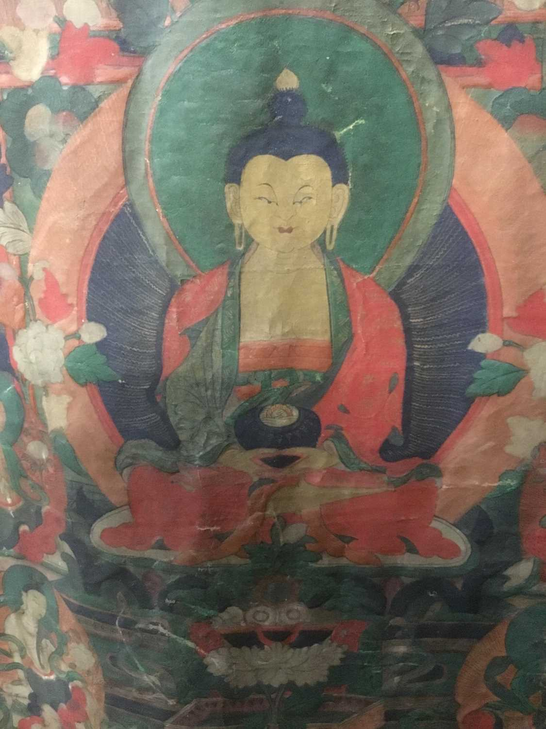 Early Tibetan thangka together with a related framed letter - Image 7 of 14