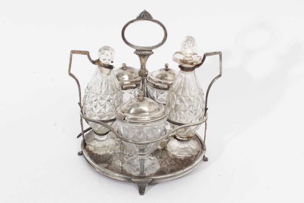 George III silver cruet stand with five matching bottles - Image 3 of 4