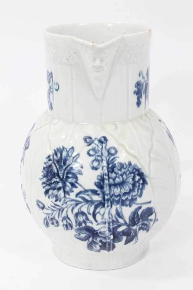 Worcester cabbage leaf moulded mask jug, circa 1770, decorated with flowers, 20cm high - Image 2 of 8