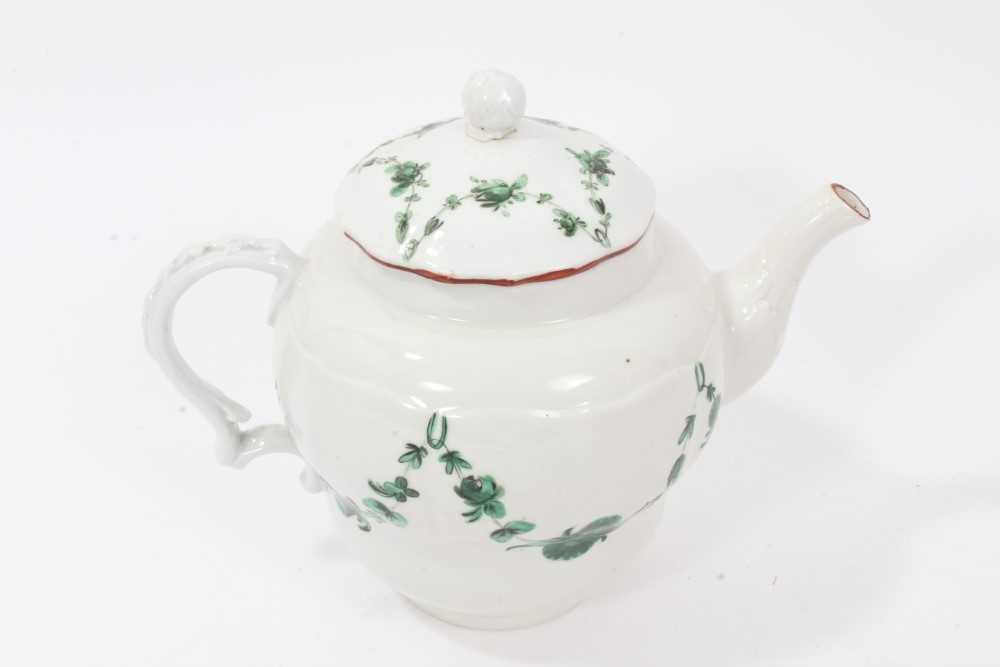 Bristol ogee shaped teapot and cover, circa 1772, with green-painted swags of flowers, the spout and - Image 3 of 9
