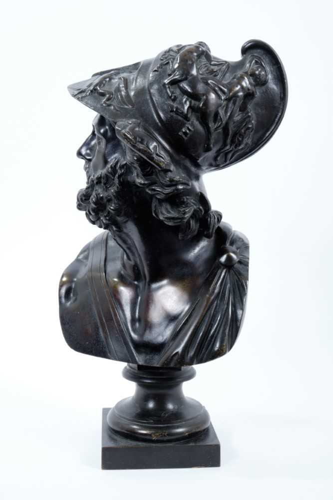 After the antique - 19th century Continental bronze bust of Menelaus - Image 2 of 4