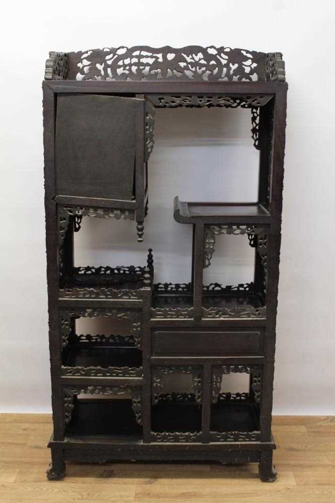 Late 19th century Chinese carved rosewood display cabinet - Image 9 of 13