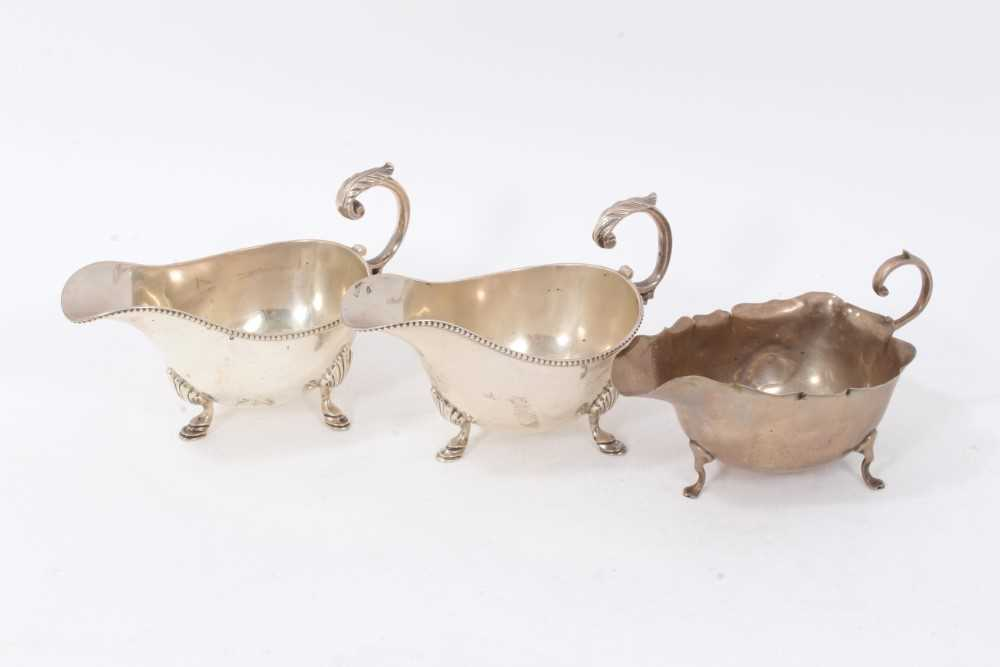 Pair Victorian sauce boats of conventional form, and one other.