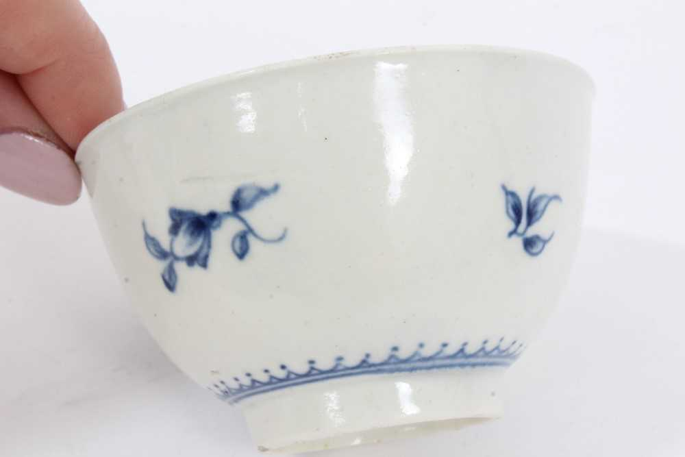 Worcester tea bowl and saucer, circa 1758, painted in blue with the Prunus Root pattern, together wi - Image 8 of 12