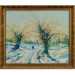*Tom Keating oil on canvas, Snow scene, Dedham