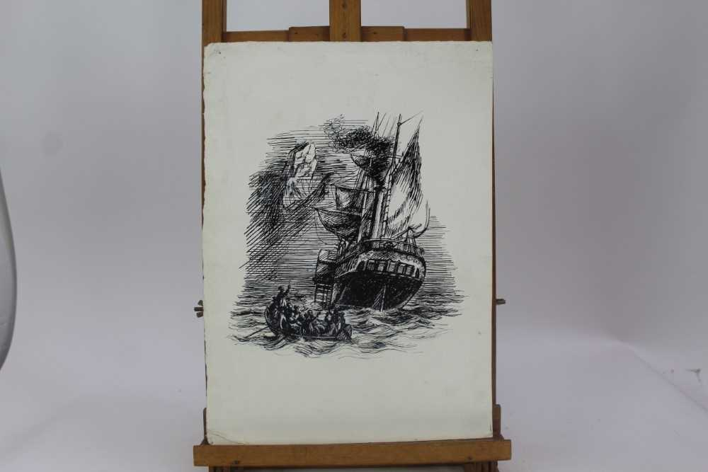 Phyllis Ginger (1907-2005) pen and ink drawing - The Paddle Steamer, unframed Provenance: Chris Be - Image 2 of 6