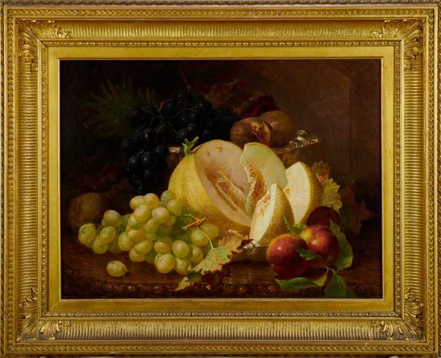 Eloise Harriet Stannard (1828-1915) oil on canvas, Peaches and grapes