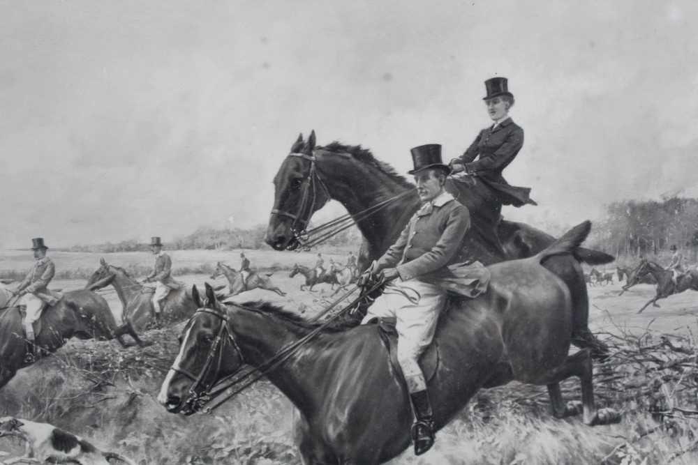Thomas Blinks (1860-1912) three signed photogravures - Hunting Scenes, 40cm x 57cm, in glazed frames - Image 5 of 15