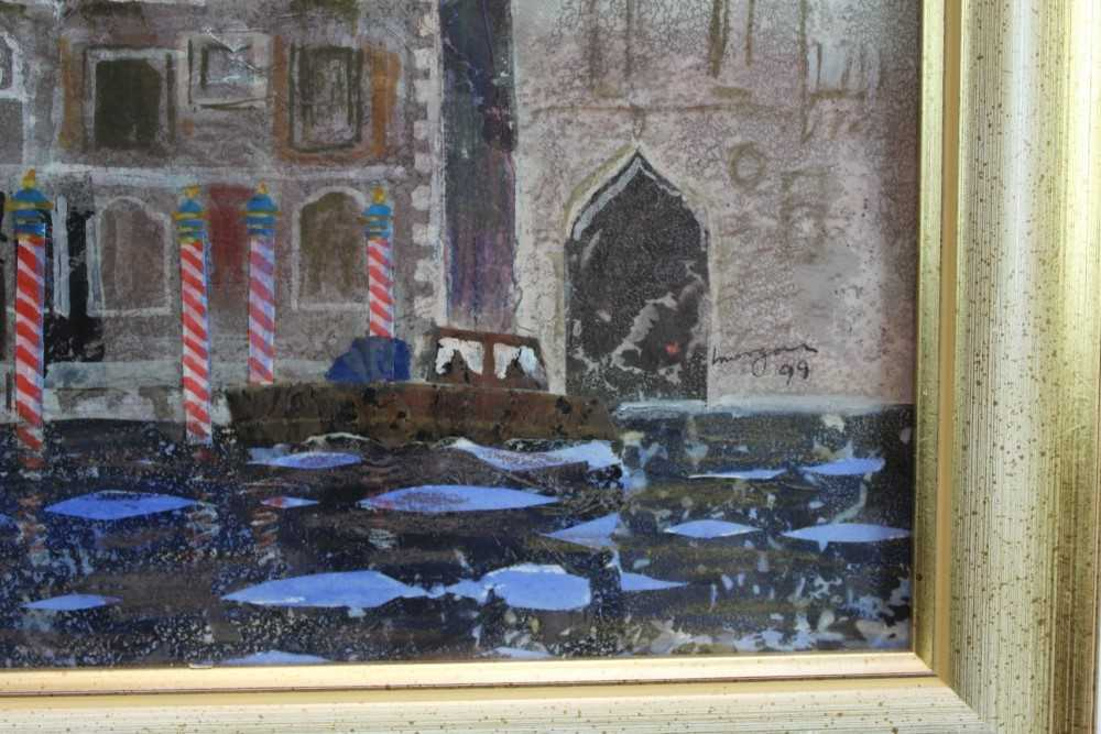 *Glyn Morgan (1926-2015) mixed media and collage - The Cavalli Franchetti Palace, Venice, signed a - Image 3 of 4