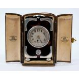 Fine quality early 20th century silver mounted tortoiseshell carriage clock