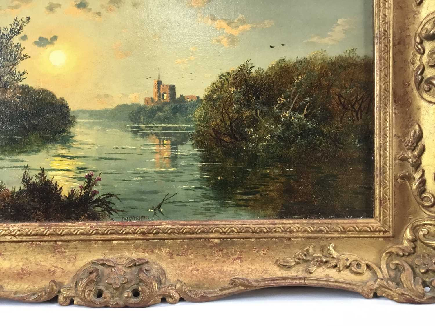 """Edmund John Niemann 1813 - 1876 """"On The River Wye"""", oil on canvas, signed, in gilt frame, gallery - Image 3 of 7"""