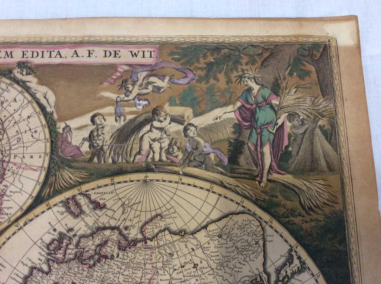 Frederick De Wit - Nova Orbis Tabula, in Lucem Edita, late 17th century hand coloured engraved map o - Image 4 of 11