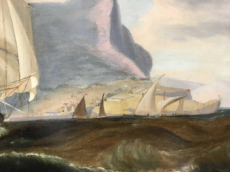John Lynn (act.1826-1869) oil on canvas - British Frigate off Gibraltar, circa 1835, 49cm x 60cm, in - Image 2 of 15