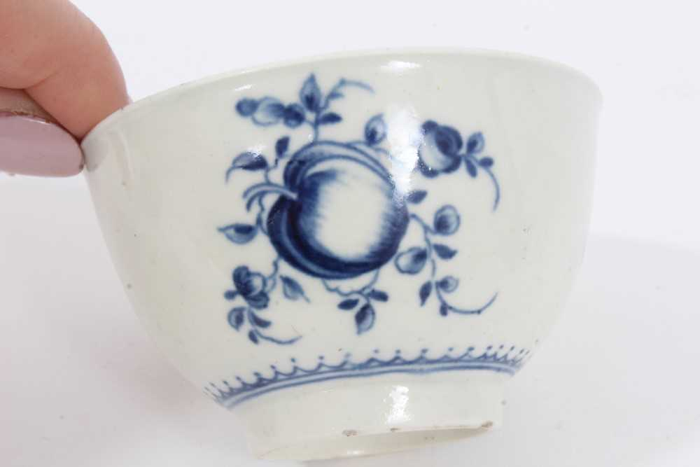 Worcester tea bowl and saucer, circa 1758, painted in blue with the Prunus Root pattern, together wi - Image 7 of 12
