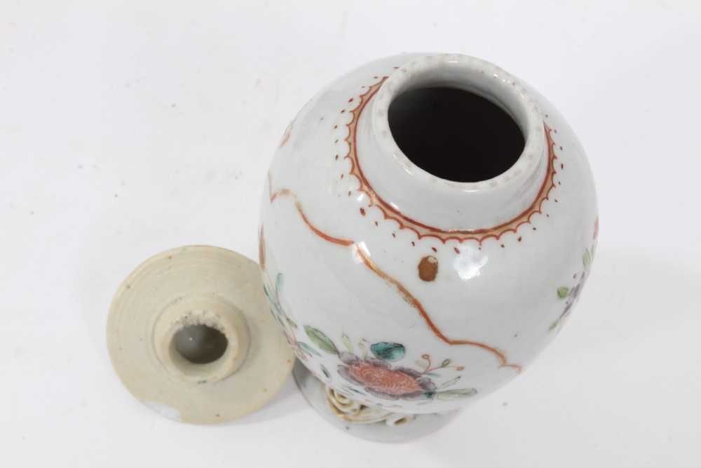 18th century Chinese caddy and cover two 19th century vases - Image 4 of 14
