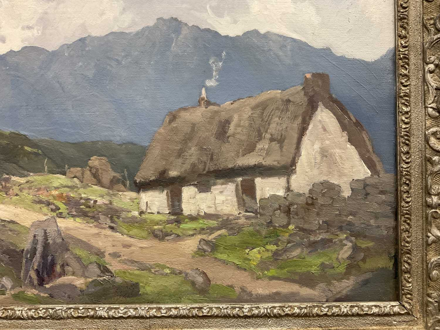 Lewis Taylor Gibb (1873-1945) oil on canvas - Crofters Cottage, 50cm x 61cm, in silvered frame - Image 2 of 9
