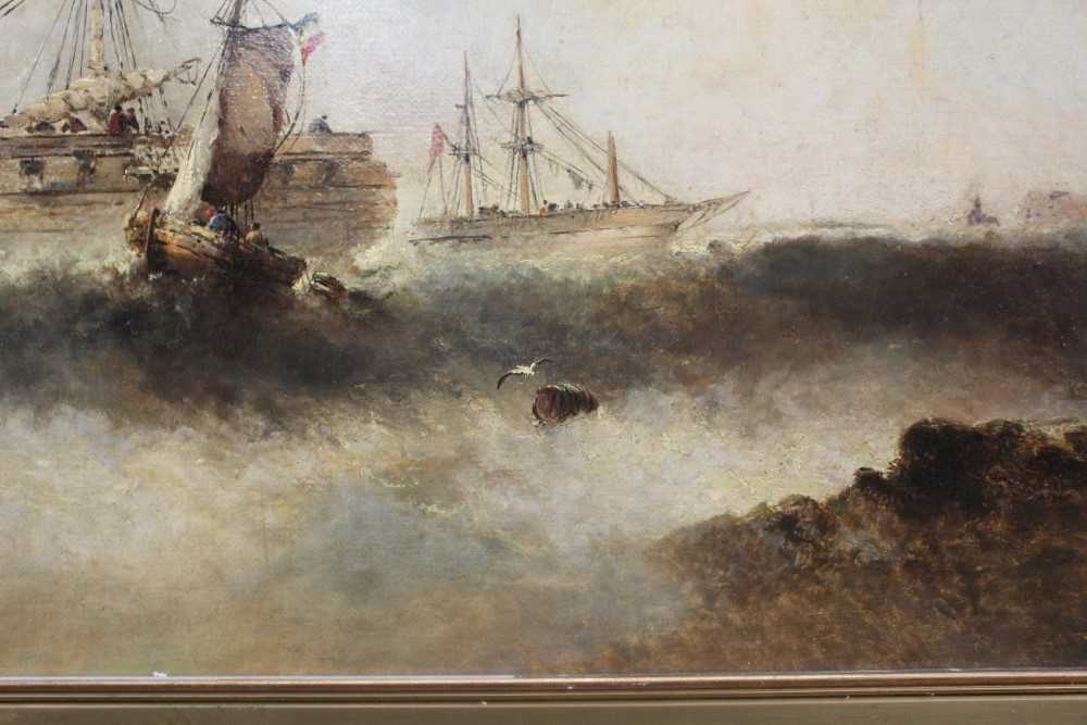Manner of William Henry Williamson oil on canvas - shipping off the coast, in gilt frame - Image 17 of 27