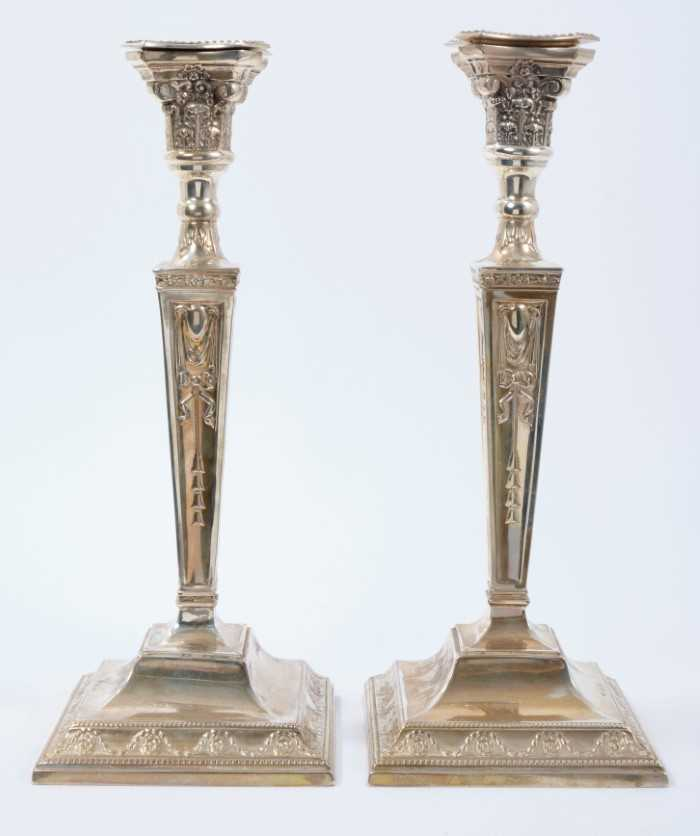 Pair late 1920s silver candles sticks in the Georgian style, with tapering columns