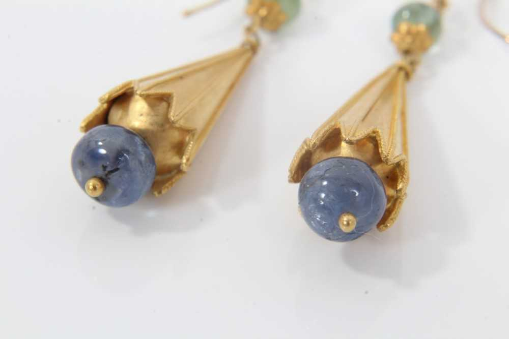 Pair of Etruscan revival gold, emerald and sapphire bead pendant earrings, each with a emerald bead - Image 3 of 3