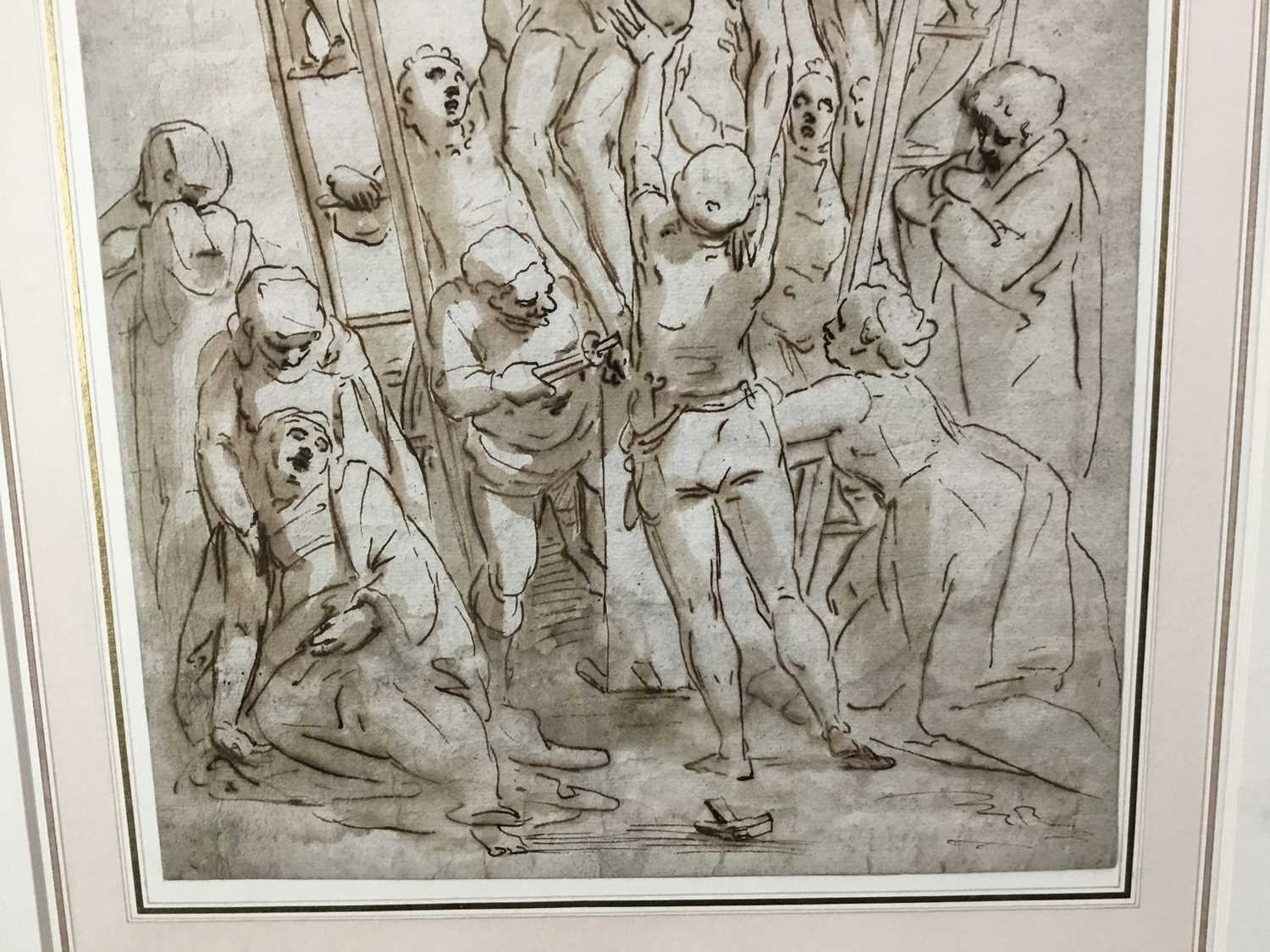After Luca Cambiaso (1527-1585) 16th century drawing, pen and ink with wash, watermark, 'The Descent - Image 2 of 13
