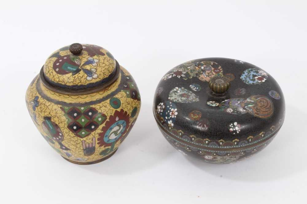 Japanese cloisonné pot and cover, together with another