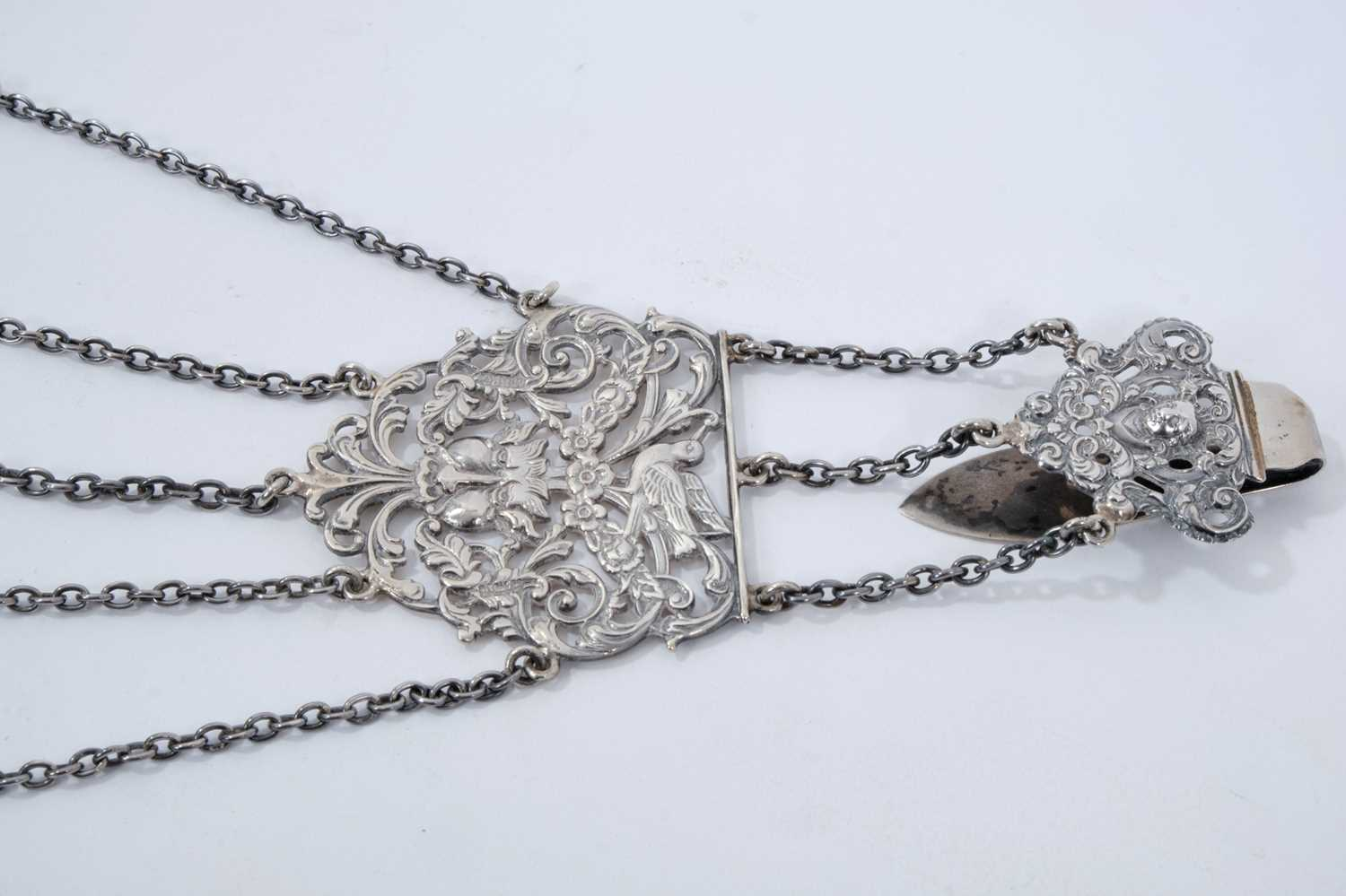 Late Victorian silver sewing chatelaine with ornate cast belt hook and five suspension chains - Image 4 of 4