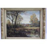Hugh Douglas Gibb (1910-2000), oil on board - East Anglian Landscape, signed, 40cm x 50cm, in glazed
