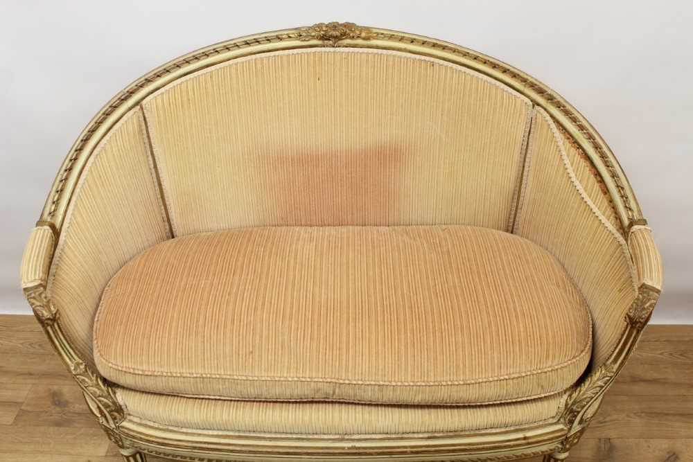 Late 19th / early 20th century French cream painted bergère suite - Image 2 of 16